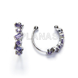 Cartilage in sterling silver with light amethyst zircons.