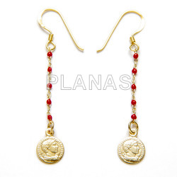 Earrings in sterling silver and gold bath with enameled balls. coin.
