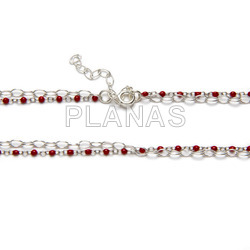 3-piece sterling silver set with red enameled beads.
