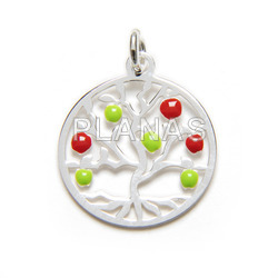 Mini pendant in sterling silver with enameled balls, tree of life.