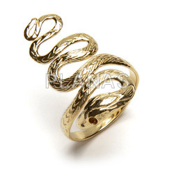 1 micron gold plated brass ring. snake.