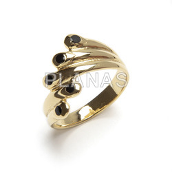 Brass ring plated in 1 micra gold and black enamel.