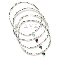 2mm elastic sterling silver bracelet with zirconia. heart.