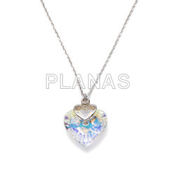 Necklace in rhodium sterling silver and aurore boreal heart from swarovski.
