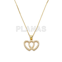 Sterling silver and gold plated necklace double heart.