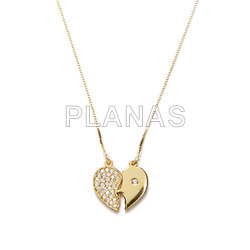 Sterling silver and gold plated necklace with zircons. split heart.