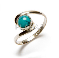 Ring in sterling silver and natural turquoise.