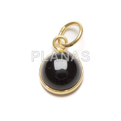 Mini pendant in sterling silver and gold bath with minerals.