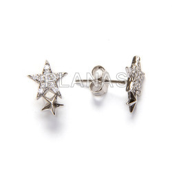 Earrings in rhodium sterling silver and white zircons. stars.