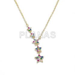 Necklace in rhodium sterling silver with colored zircons. stars.