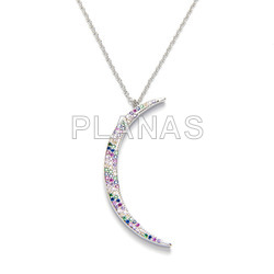 Necklace in rhodium-plated sterling silver with colored zircons luna.