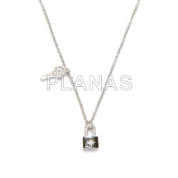 Necklace in rhodium-plated sterling silver with white zircons. key and padlock.