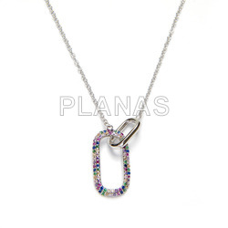Necklace in rhodium-plated sterling silver with colored zircons.