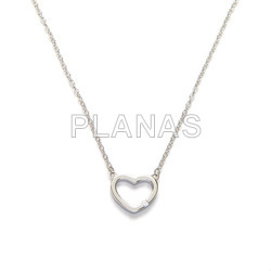 Necklace in rhodium sterling silver with white zirconia. heart.