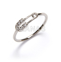 Ring in rhodium-plated sterling silver and white zircons. safety pin.