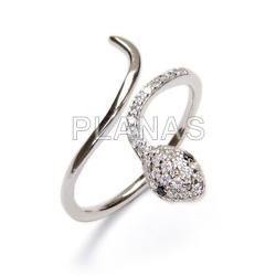 Ring in rhodium-plated sterling silver and white zircons. snake.