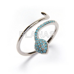 Ring in rhodium sterling silver and turquoise zircons. snake.