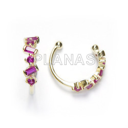 Cartilage in sterling silver and gold bath with fuchsia zircons.
