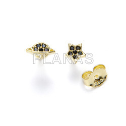 Earrings in sterling silver and gold bath with zircons. planet and star.