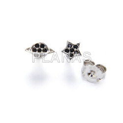Rhodium plated sterling silver earrings with zircons. planet and star.