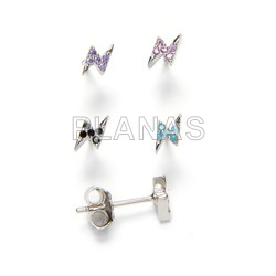 Rhodium plated sterling silver earrings with zircons.