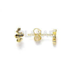 Earrings in sterling silver and gold bath with zircons. snake.