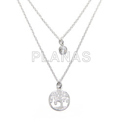 Double chain, two measures in sterling silver with white zirconia and tree of life.