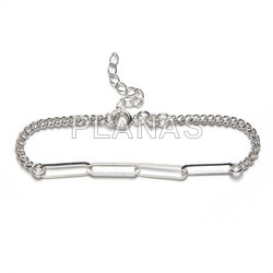 Sterling silver bracelet with rectangular links.