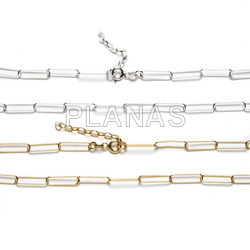 Sterling silver chains with rectangular links.