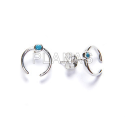 Earrings in sterling silver and turquoise zircons. inverted moon.