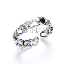 Ring in sterling silver and zircons. hearts.