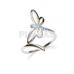 Ring in rhodium sterling silver and blue zircons. dragon-fly.