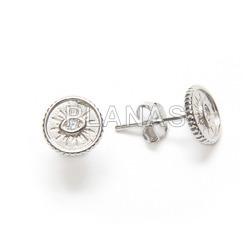 Earrings in sterling silver rhodium and zirconia. eye.