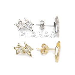 Earrings in sterling silver rhodium and white zircons. star and ray.