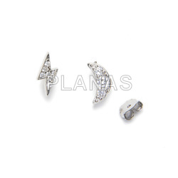 Earrings in sterling silver rhodium and white zircons, moon and ray.
