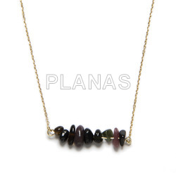 Necklace in sterling silver and tourmaline chips.