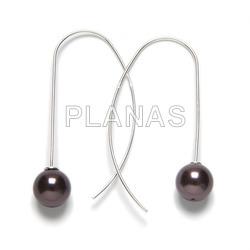 Sterling silver earrings with 10mm swarovski pearls.