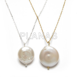 Sterling silver necklace with irregular cultured pearl.