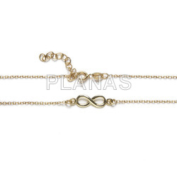 Set in sterling silver and gold bath of 2 pieces, necklace and bracelet. infinite.