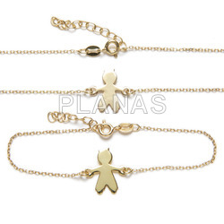 Set in sterling silver and gold bath of 2 pieces, necklace and bracelet. kid.